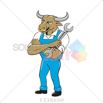 image royalty free Stock Illustration of Cartoon bull mechanic in blue arms crossed