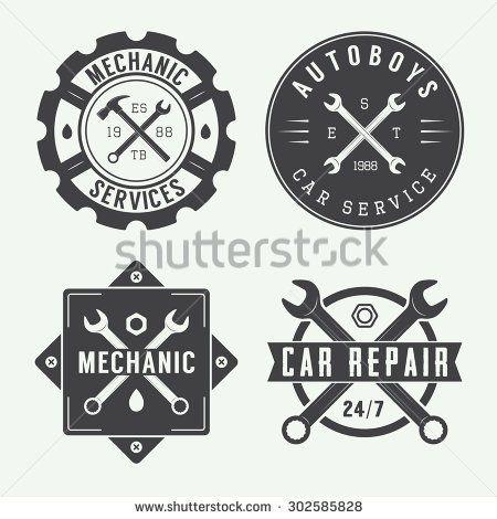 clip art freeuse download Vector emblem vintage. Mechanic label and logo
