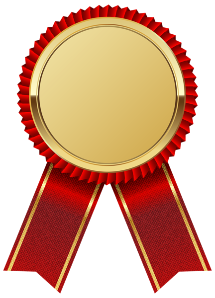 picture library stock Medal clipart. Gold with red ribbon.