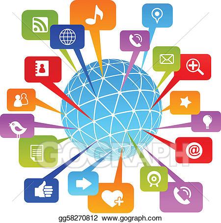 jpg Vector social network world. Media clipart.