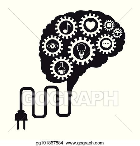 svg black and white stock Media clipart techology. Vector brain technology gears.