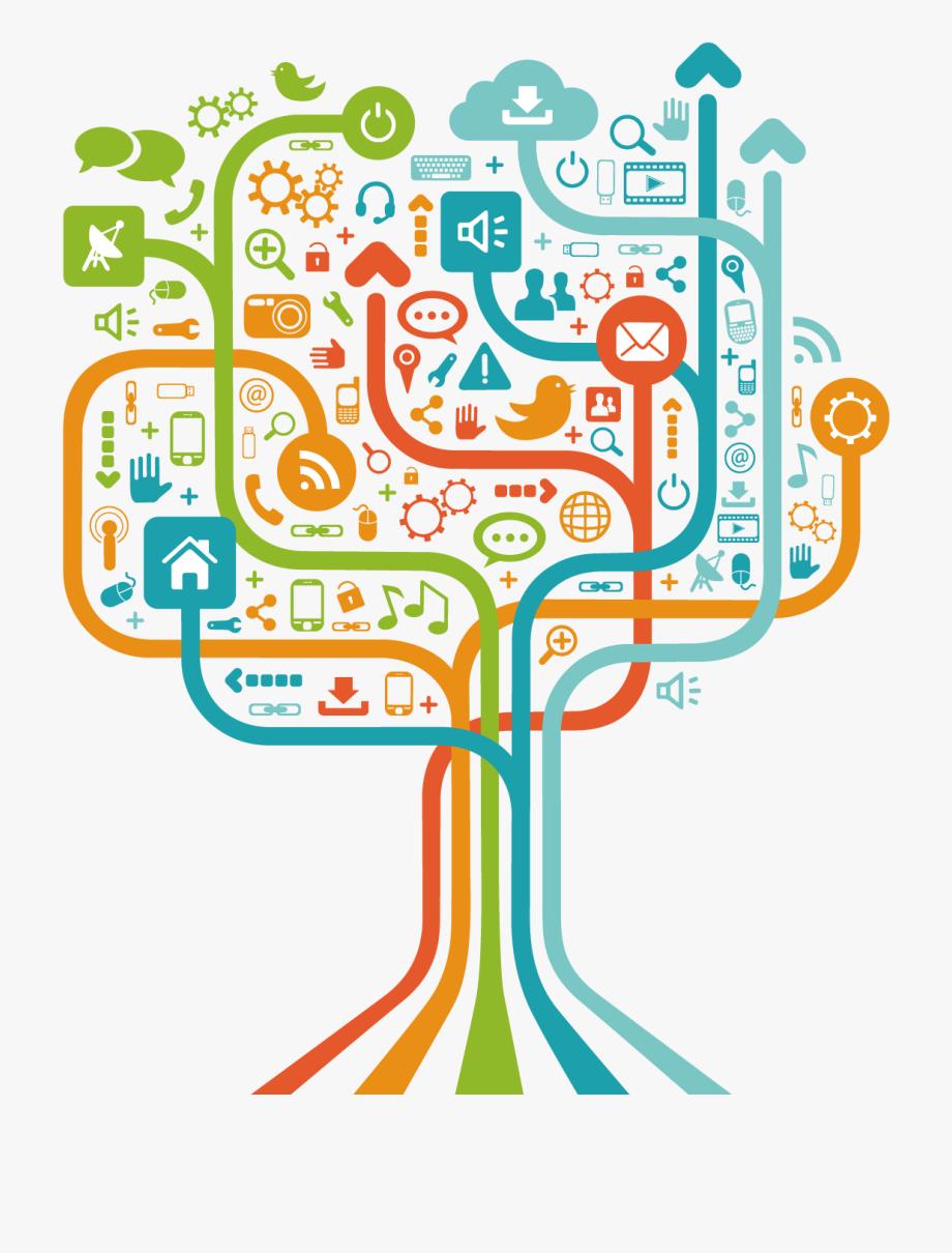 transparent download Media clipart techology. Social technology tree .