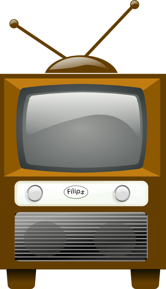 vector black and white Vintage Television Set Clipart