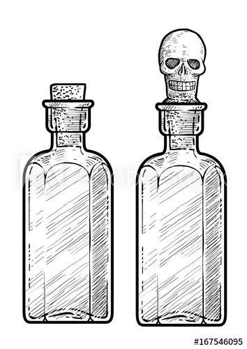 vector transparent library Potion medicine illustration engraving. Vector bottle line drawing