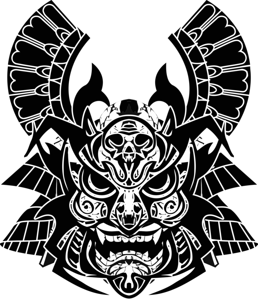 png black and white download Google search bsideslv shirt. Vector crest samurai