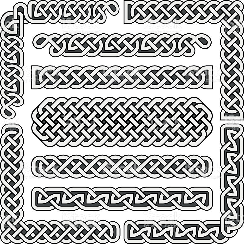 clip art black and white Celtic knots medieval seamless borders