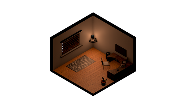 banner library Isometric Room on Behance