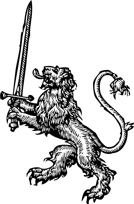png black and white stock Free lion with sword PSD files