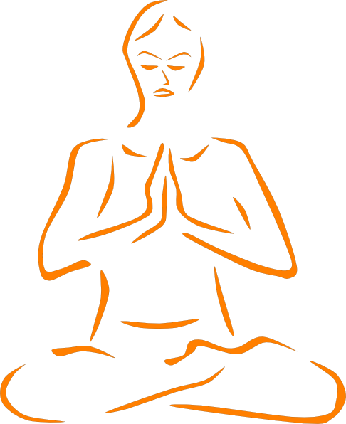 vector transparent library Meditation clipart. Orange meditating silohette clip.