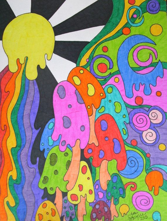 black and white stock Drawing rainbows hippie. Colorful melting rainbow mushrooms
