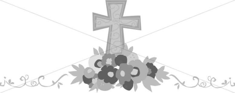 png free download Memorial clipart altar flower. Grayscale cross with flowers.
