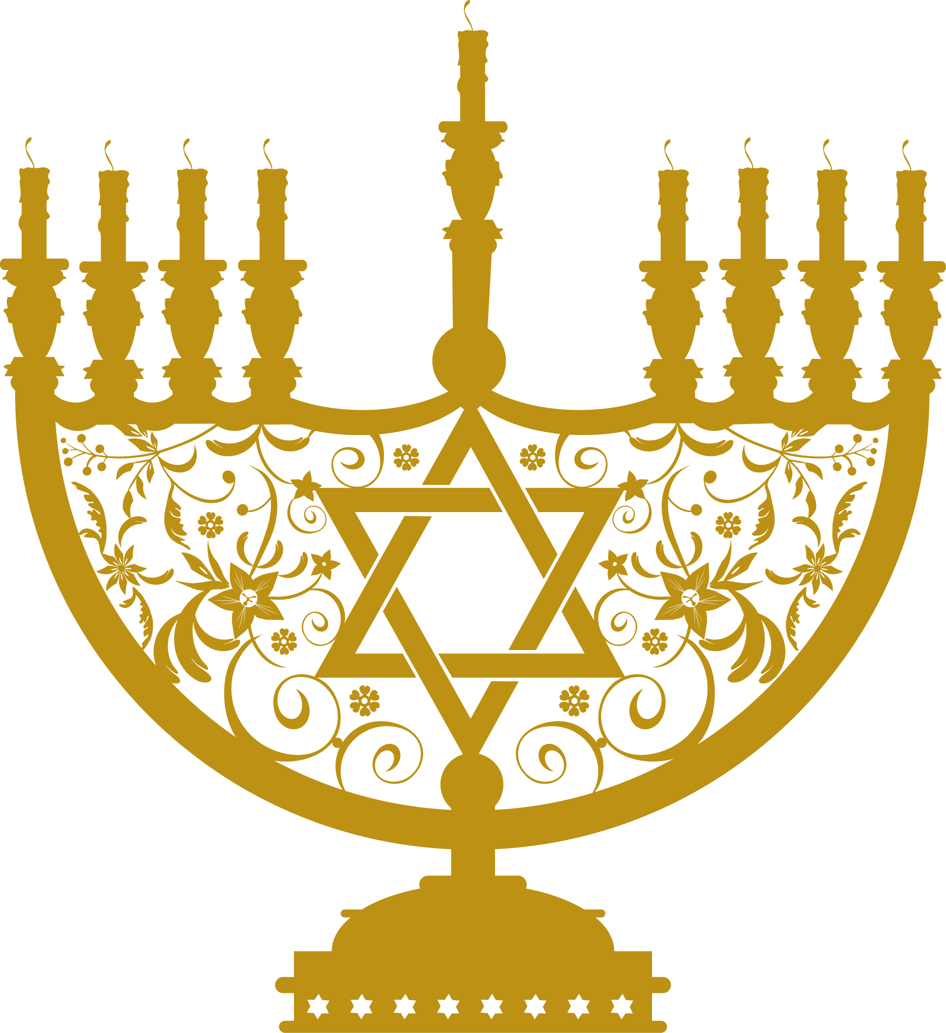 png free library Menorah Gold Clipart transparent PNG
