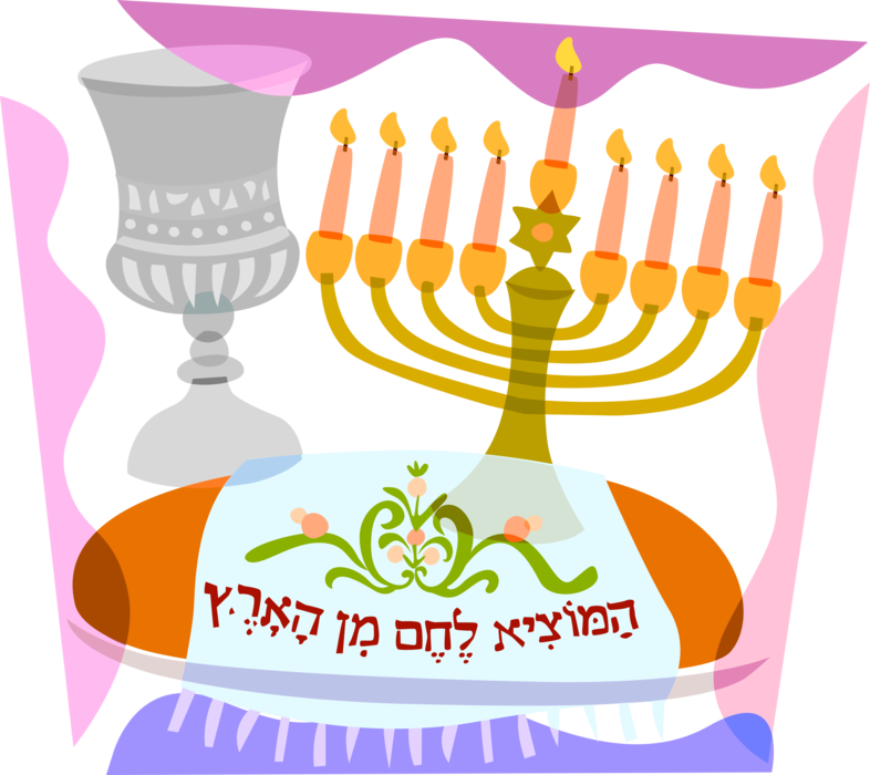 royalty free download Jewish with chalice challah. Menorah clipart lampstand.