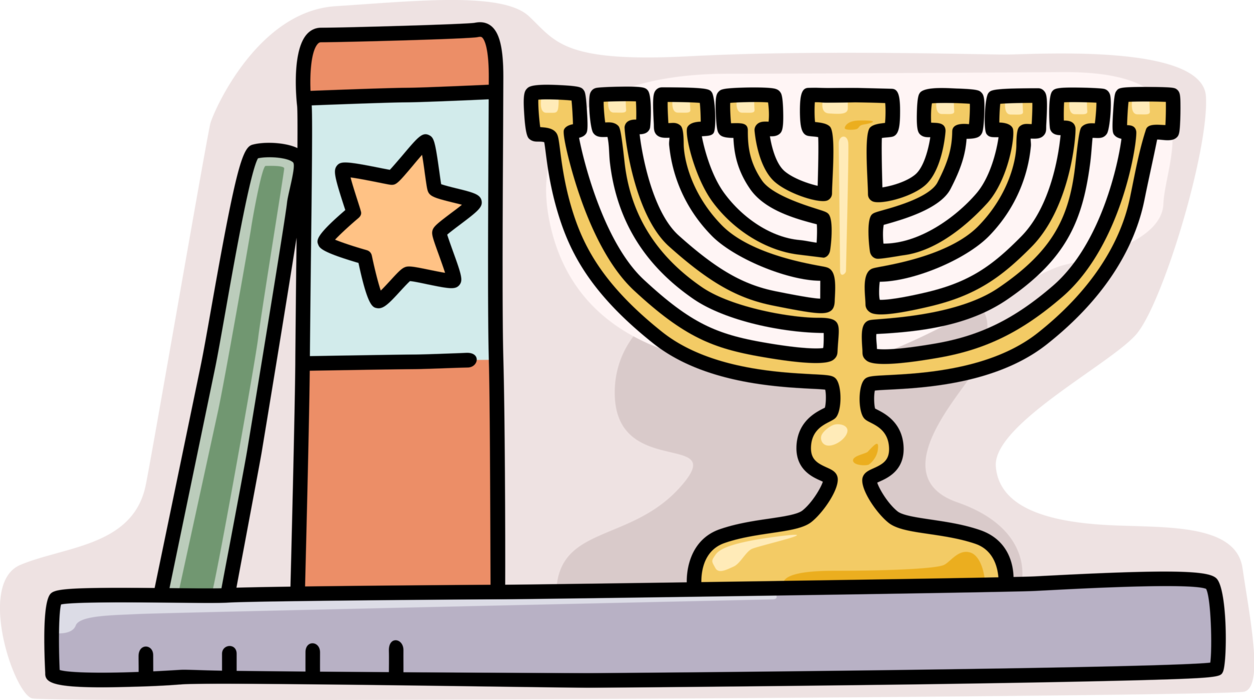 image black and white library Menorah clipart lampstand. Jewish hanukkah with bible.