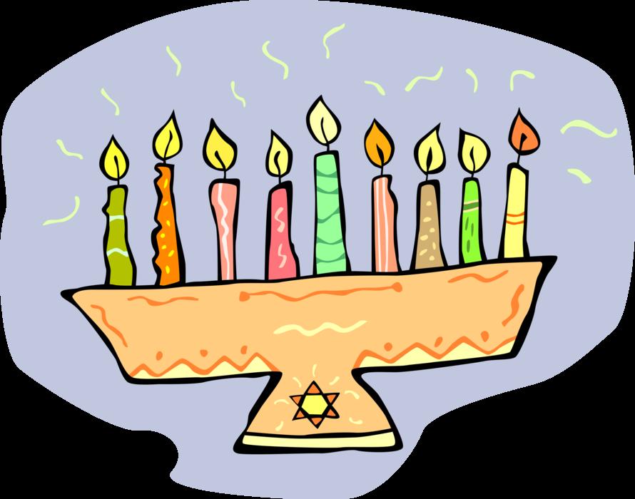 vector royalty free library Jewish hanukkah candles vector. Menorah clipart lampstand.