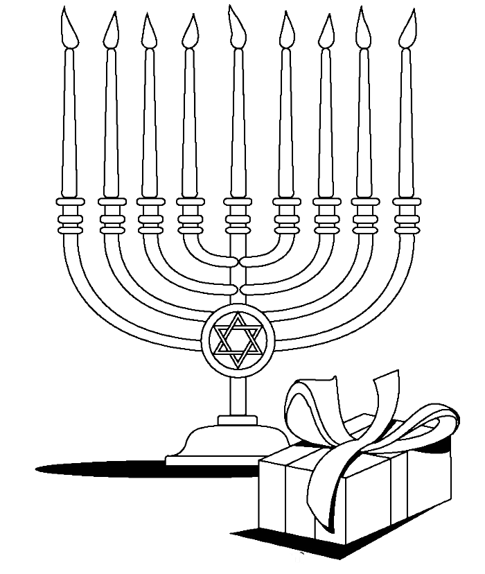 vector library stock Candles with gifts at. Menorah drawing coloring page