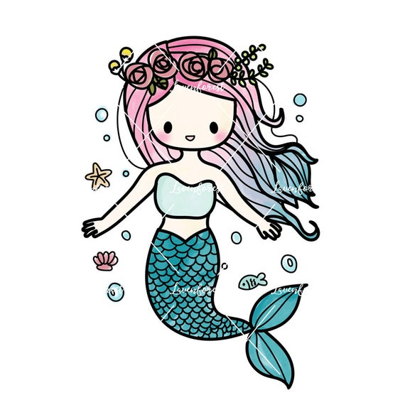 image library stock Mermaid clipart. Digital summer download scrapbooking
