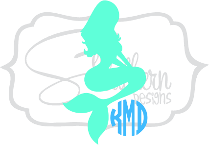 picture royalty free stock Mermaid clipart monogram. Sew southern designs.