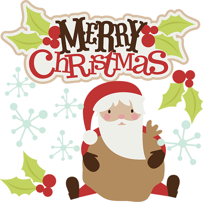 black and white download Cute Merry Christmas Clipart