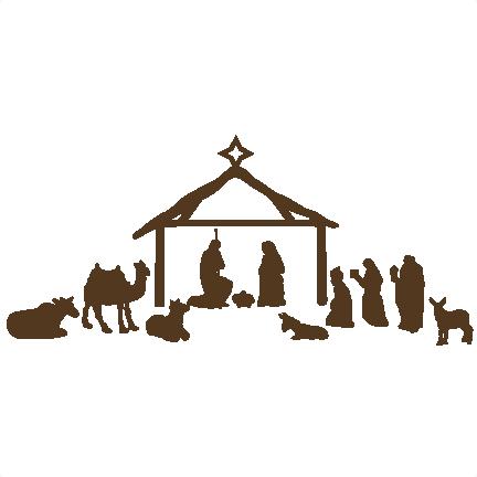 vector black and white stock nativity scene clipart free #63739077