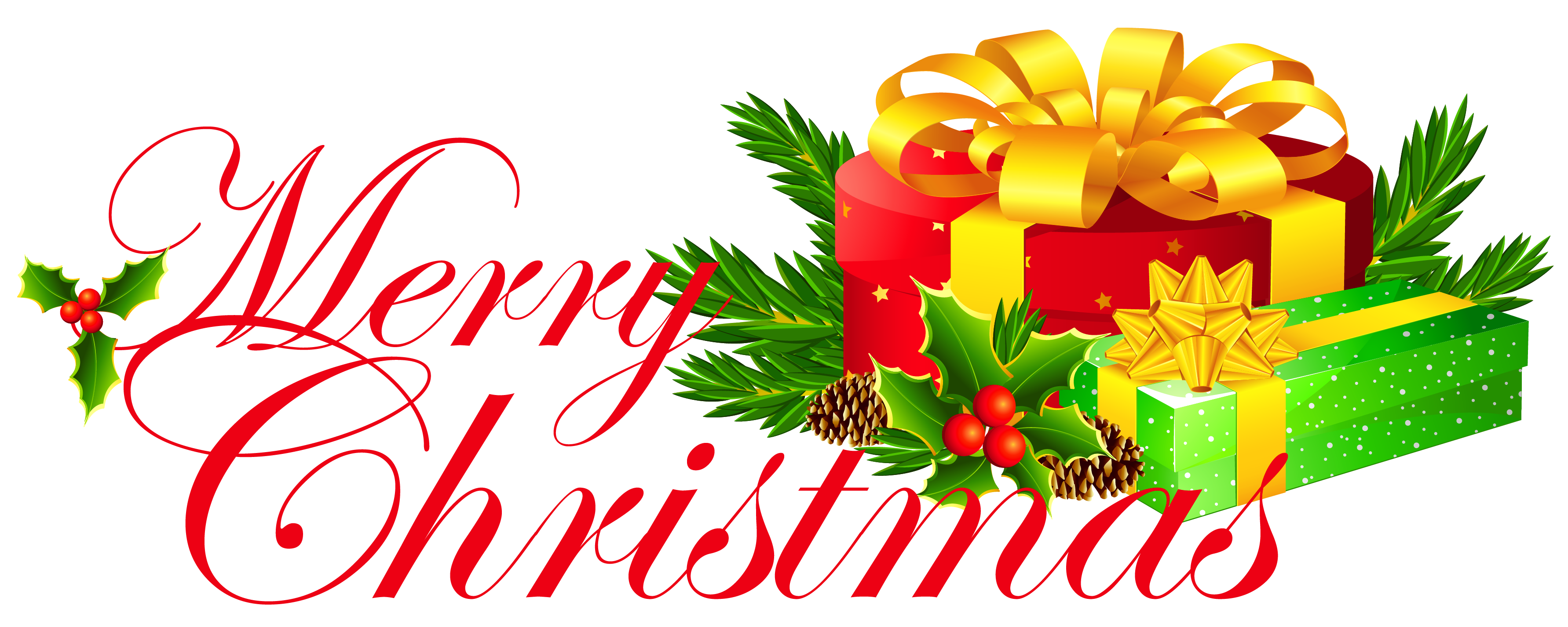 vector freeuse Merry clipart. Transparent christmas with presents.