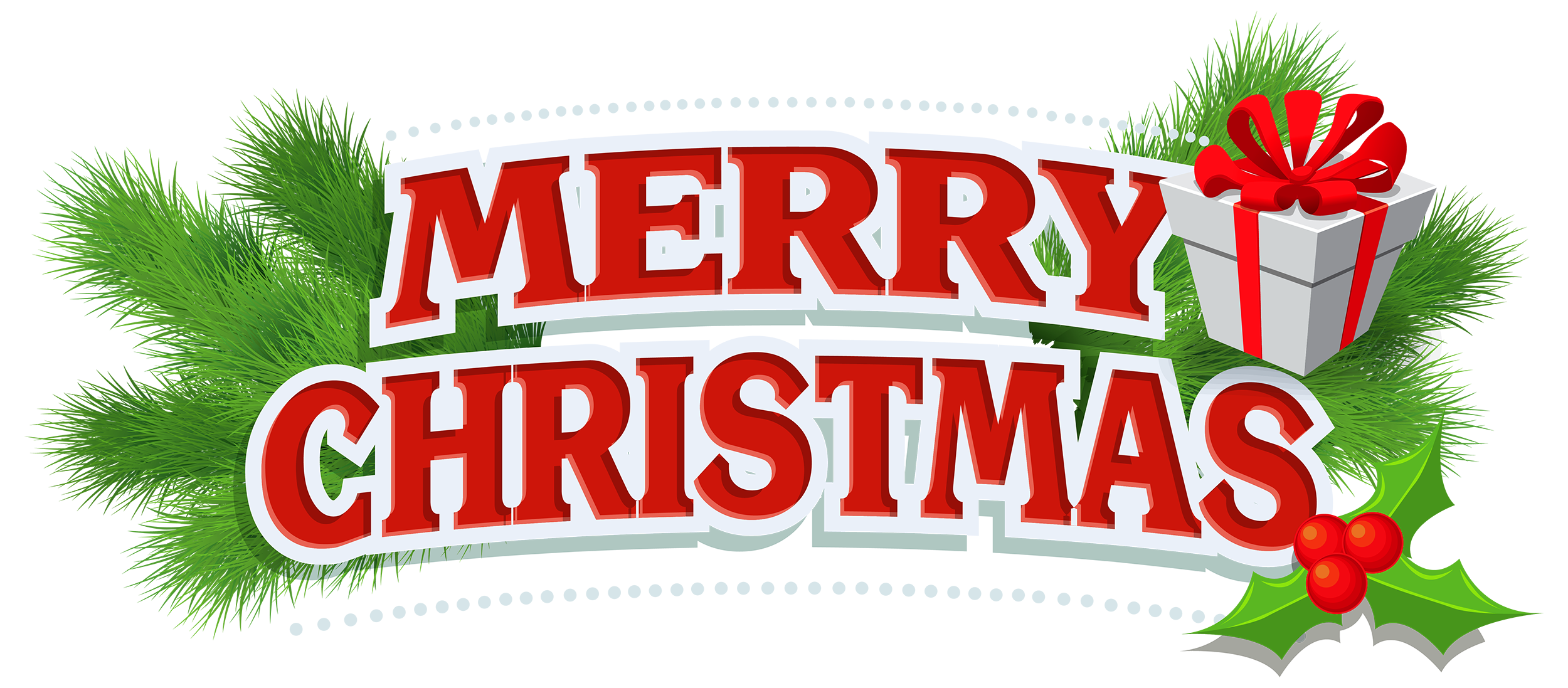 image library library Christmas decor with gift. Merry clipart.
