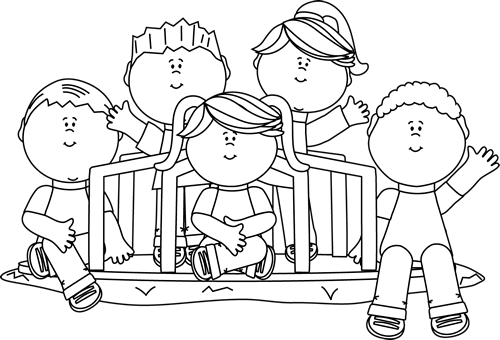 jpg library stock Black and white kids. Youth clipart outline person