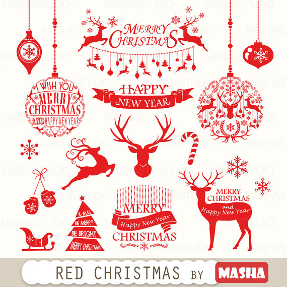 graphic black and white library Merry clipart rustic. Christmas red with .