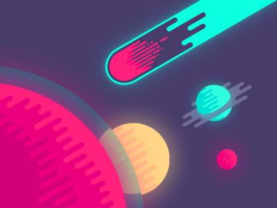 jpg library Illustration in space . Meteor vector flat design