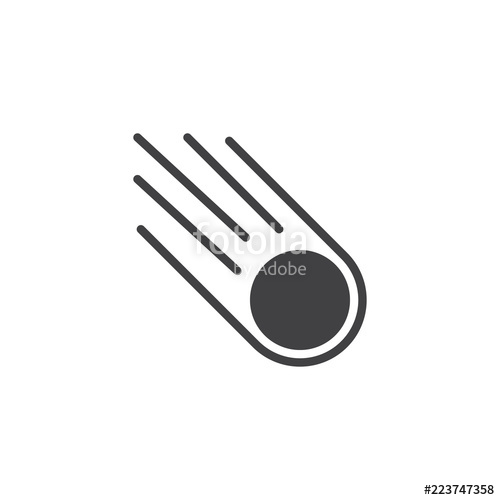 png freeuse library Falling asteroid icon filled. Meteor vector flat design