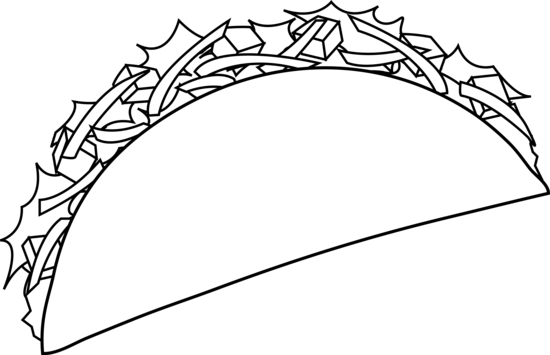 graphic royalty free stock Taco clipart black and white