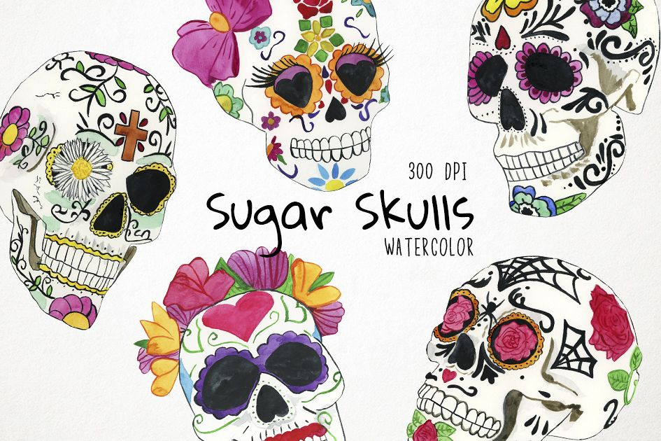clip freeuse download Mexican skull clipart. Watercolor sugar skulls .