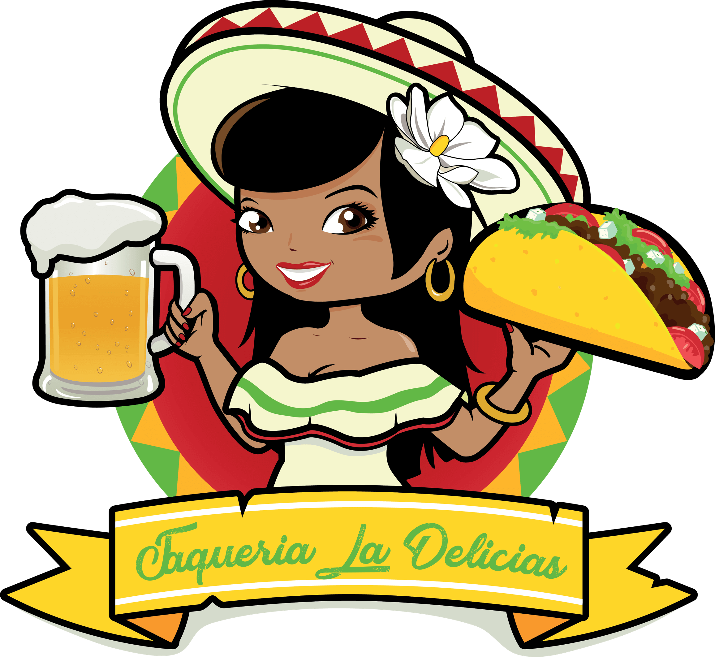 png library download Walking taco clipart. Mexican cuisine woman clip.