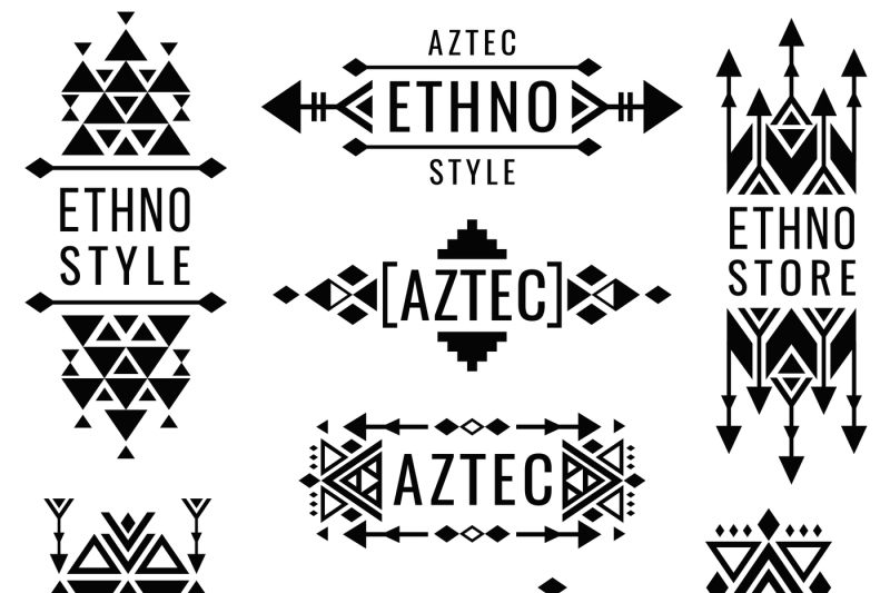 free stock Mexican vector. Tribal old ornaments indian