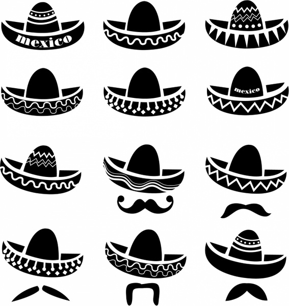 clipart transparent download Mexican Sombrero hat with moustache Free vector in Adobe