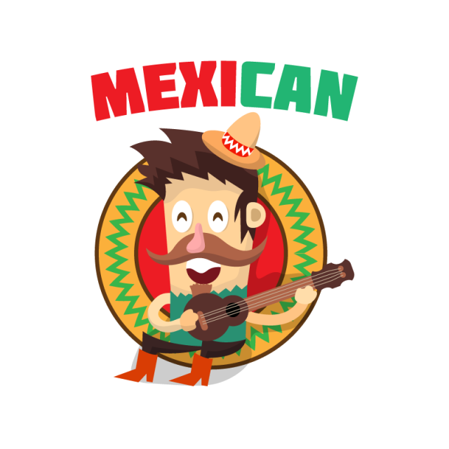 clip art freeuse download Mexican vector background. Guitar cartoon character png