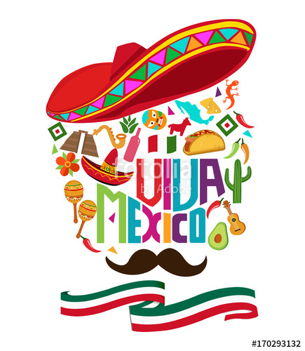 jpg library download Mexico independence day typography text
