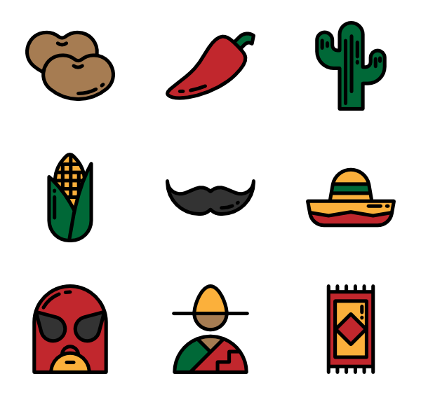vector black and white stock mexican vector icon #114491484