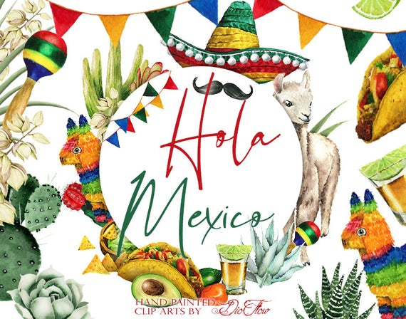 svg free Watercolor mexican clip art. Mexico clipart.