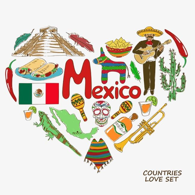 jpg library Heart shaped elements travel. Mexico clipart.