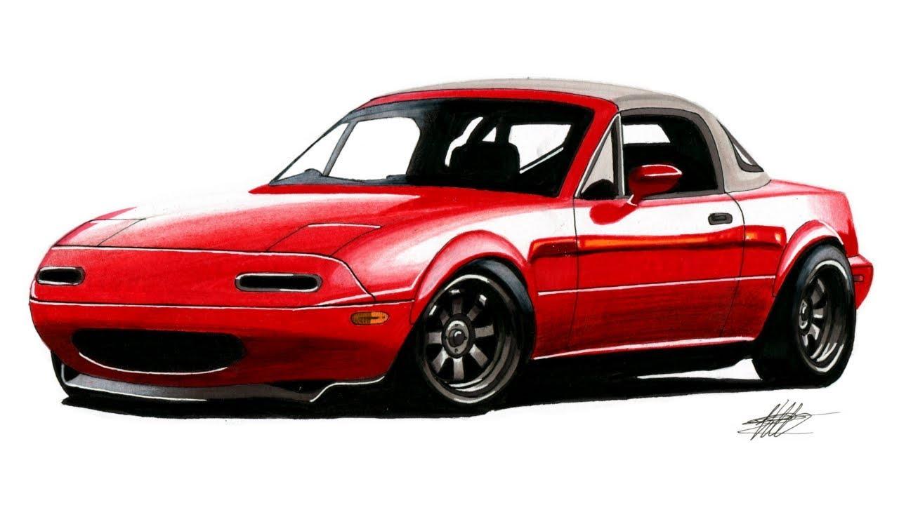jpg transparent stock Miata drawing. Realistic car mazda mx.