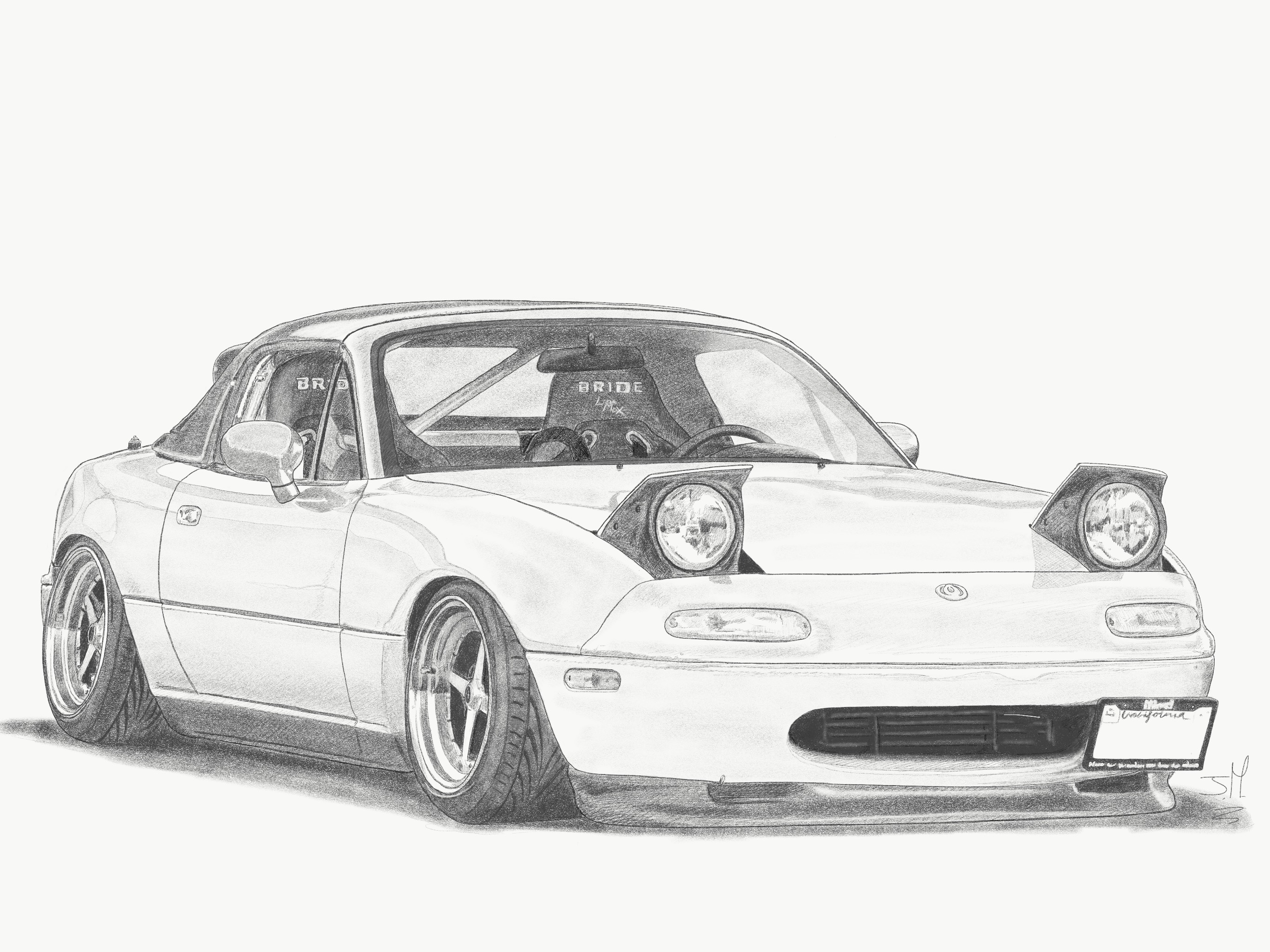vector black and white Miata drawing. Miataaa mx hand drawn.