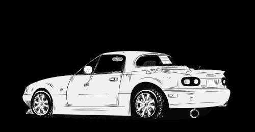 banner black and white Mazda mx na tumblr. Miata drawing.