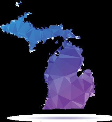 graphic transparent Michigan clipart. Polygon triangle map blue.