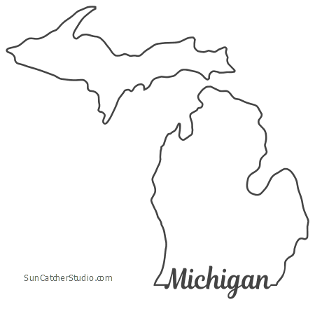 free download Map outline printable state. Michigan clipart shape.