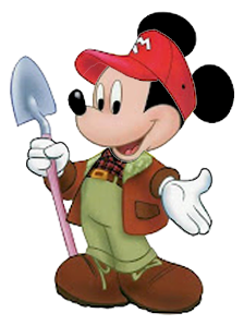 graphic black and white library Gardener mouse back to. Mickey clipart farmer.
