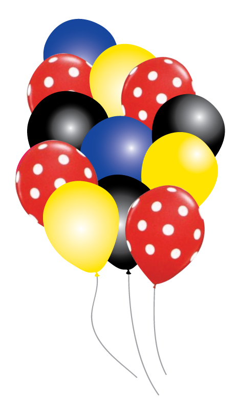 graphic library stock Mickey mouse balloons party. Vector balloon celebration