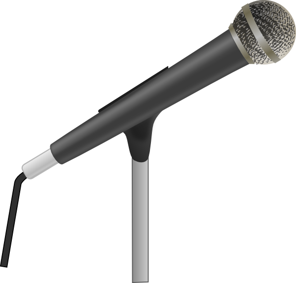 clip art black and white library Microphone clipart transparent background