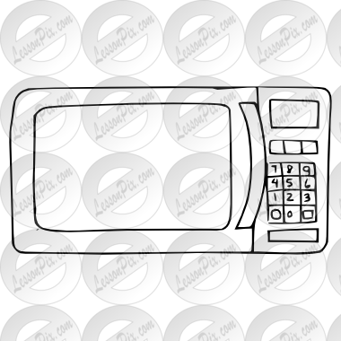 picture black and white Microwave Outline for Classroom