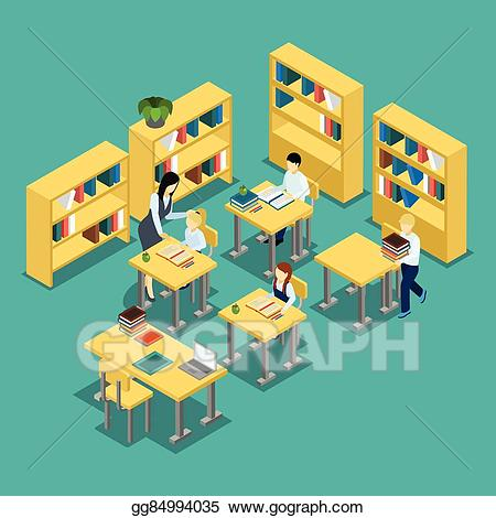 vector library library Middle clipart classroom. Eps illustration education school.